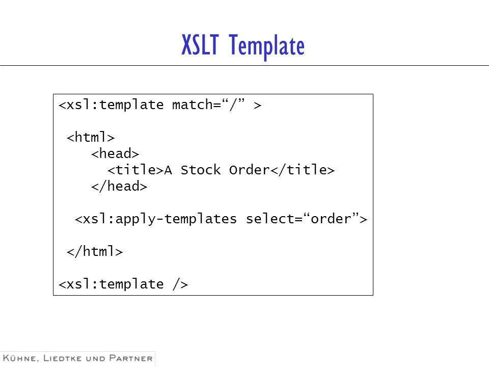 XSLT Template <xsl:template match= / > <html>