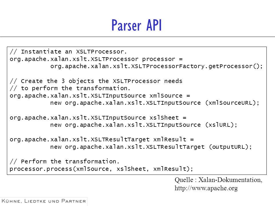 Parser API Quelle : Xalan-Dokumentation, http://www.apache.org