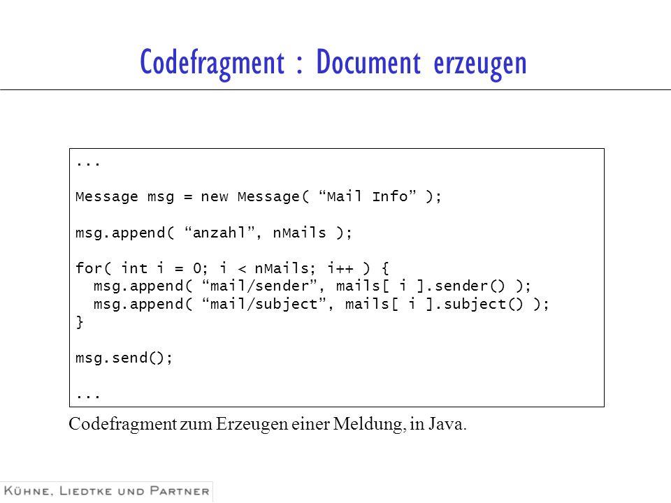 Codefragment : Document erzeugen