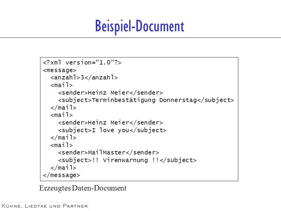Beispiel-Document Erzeugtes Daten-Document < xml version= 1.0 >