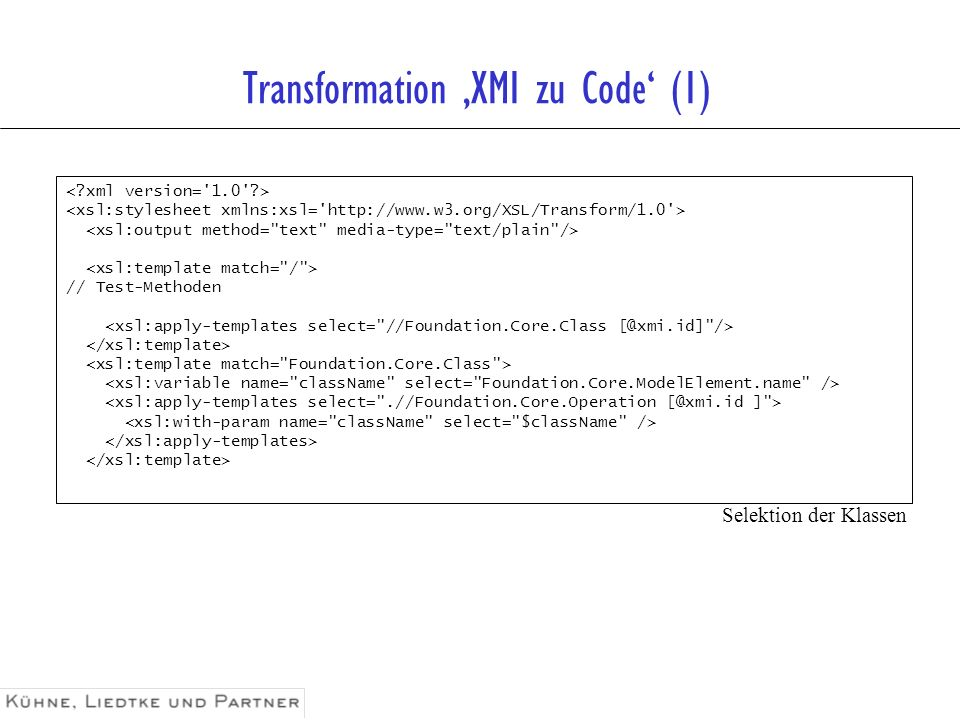 Transformation 'XMI zu Code' (1)