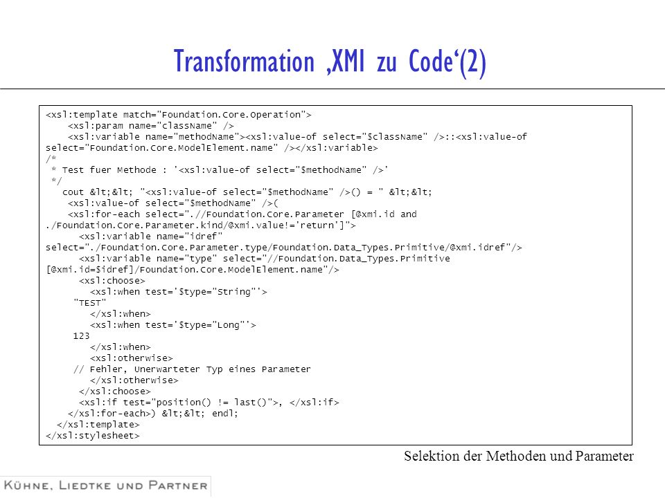 Transformation 'XMI zu Code'(2)