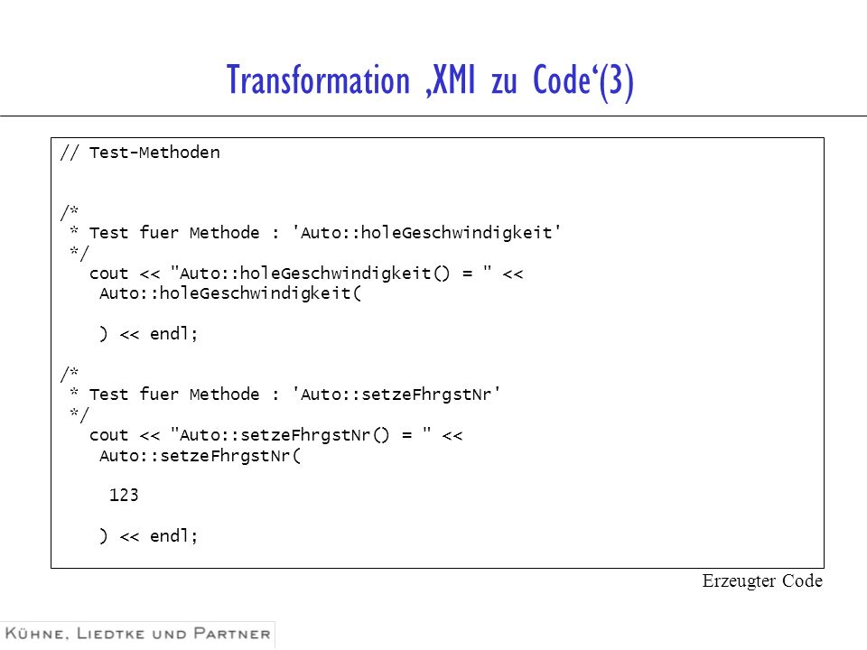 Transformation 'XMI zu Code'(3)