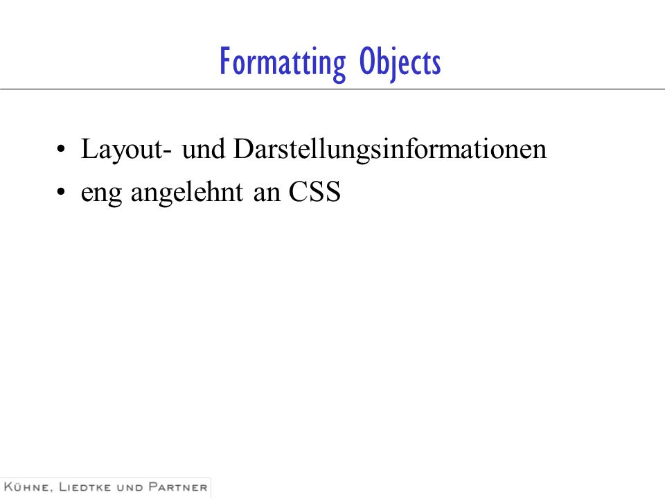 Formatting Objects Layout- und Darstellungsinformationen