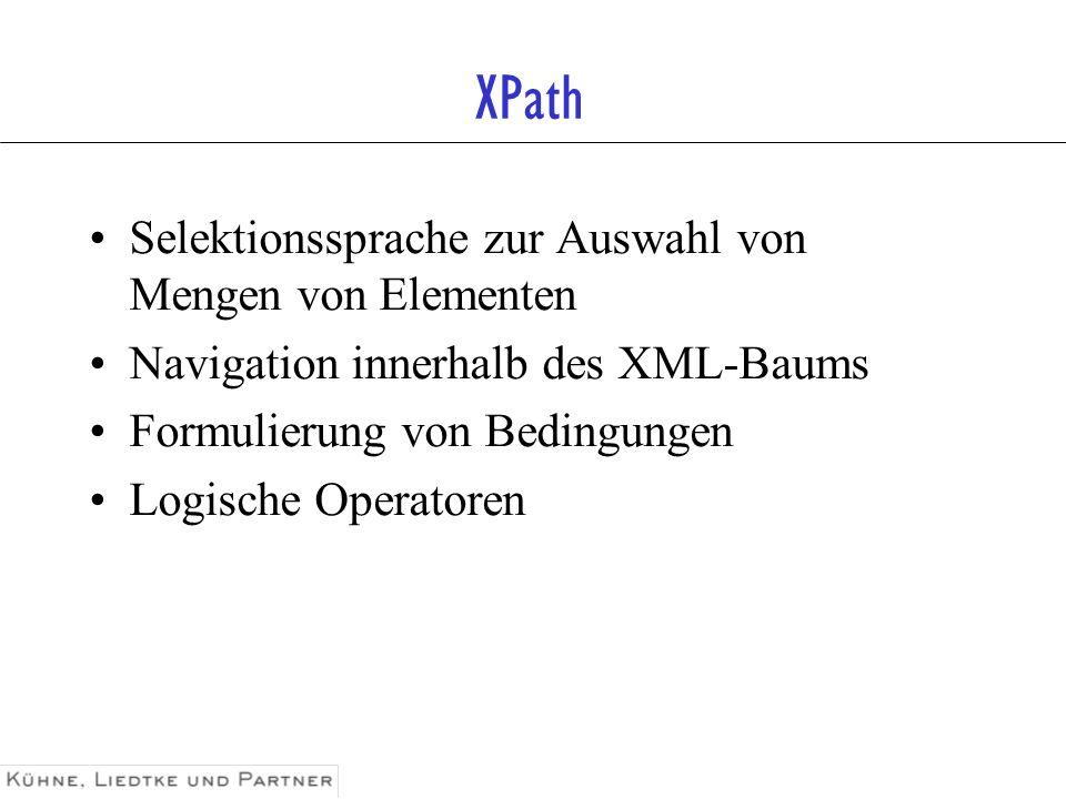 XPath Selektionssprache zur Auswahl von Mengen von Elementen