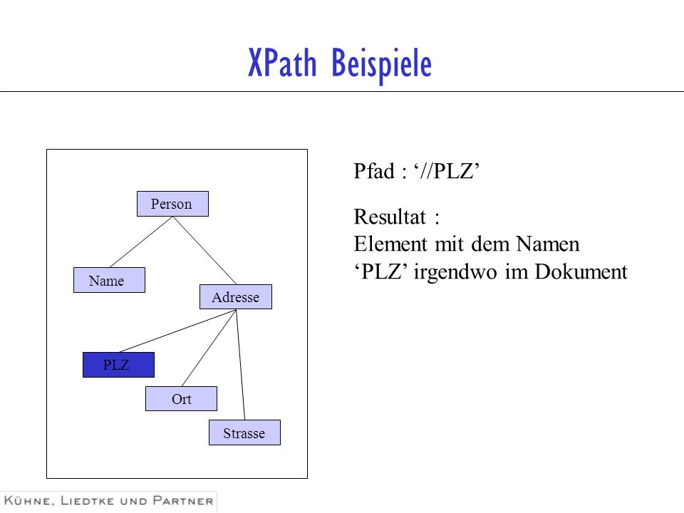 XPath Beispiele Pfad : '//PLZ' Resultat : Element mit dem Namen