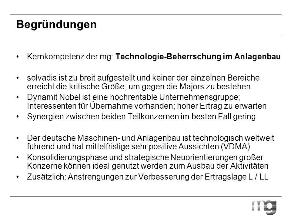 Begründungen Kernkompetenz der mg: Technologie-Beherrschung im Anlagenbau.