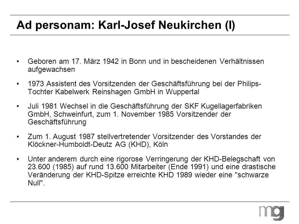 Ad personam: Karl-Josef Neukirchen (I)