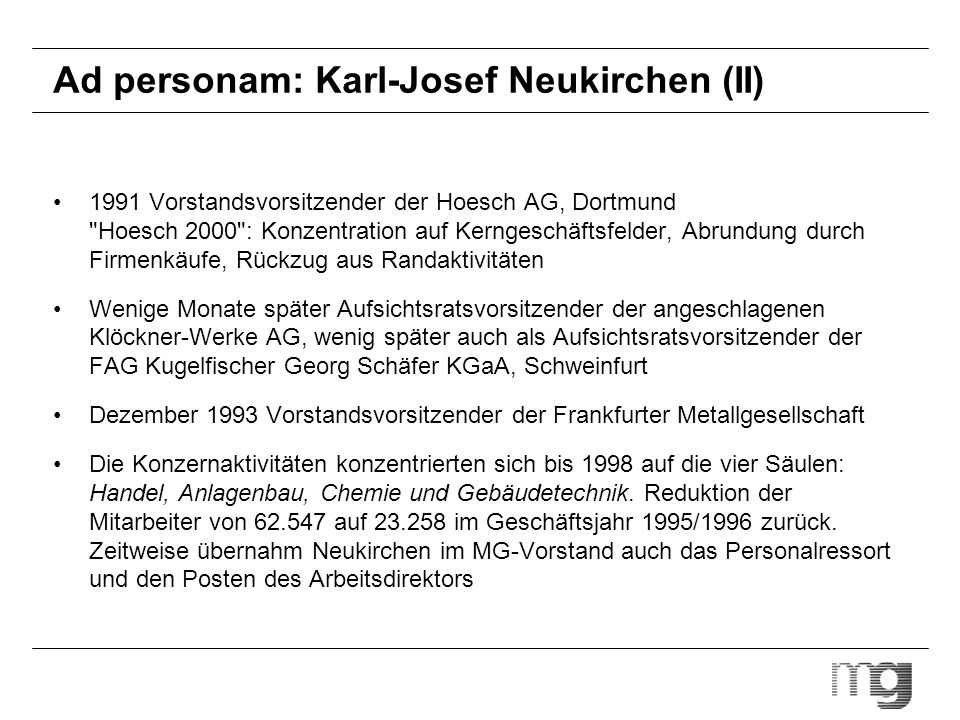 Ad personam: Karl-Josef Neukirchen (II)