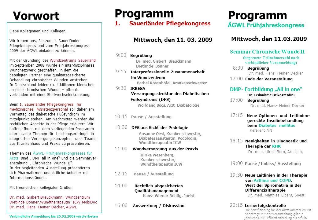 Vorwort Programm Programm Sauerländer Pflegekongress
