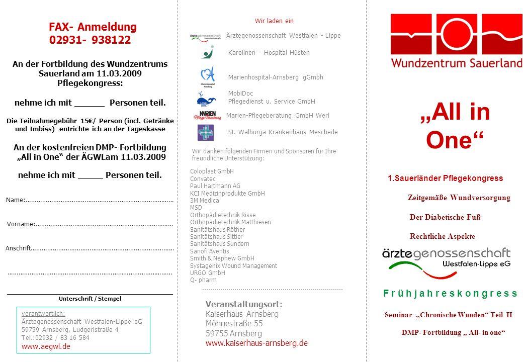"""""""All in One Wir laden ein FAX- Anmeldung 02931- 938122"""