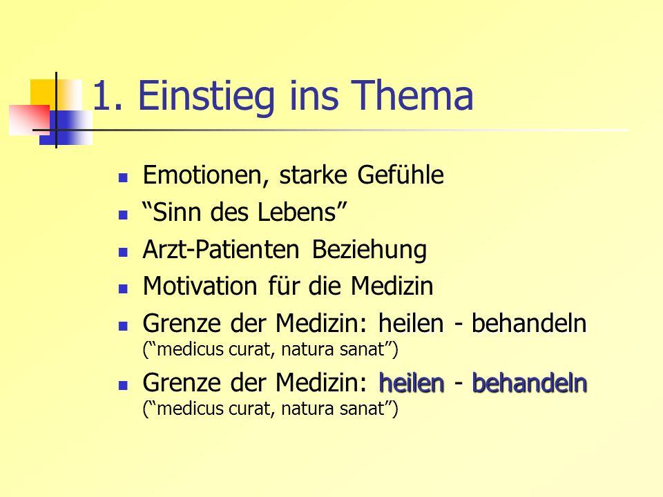 1. Einstieg ins Thema Emotionen, starke Gefühle Sinn des Lebens