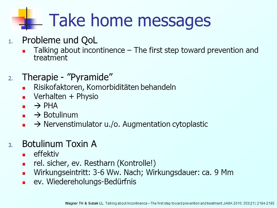 Take home messages Probleme und QoL Therapie - Pyramide