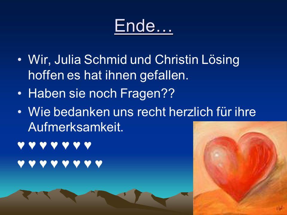 Ende… Wir, Julia Schmid und Christin Lösing hoffen es hat ihnen gefallen. Haben sie noch Fragen