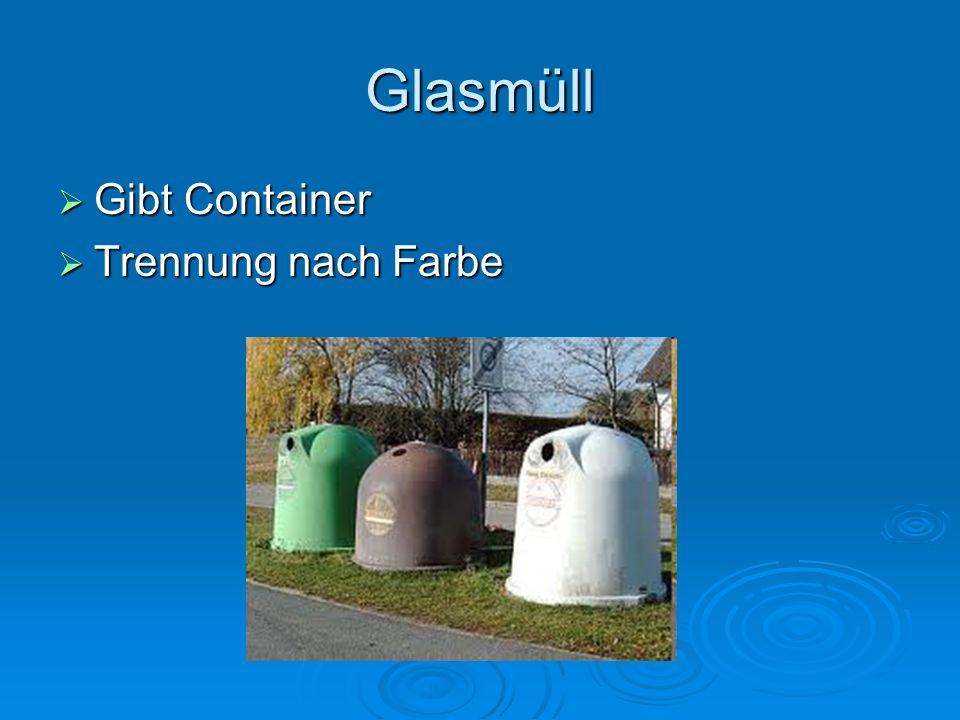 Glasmüll Gibt Container Trennung nach Farbe