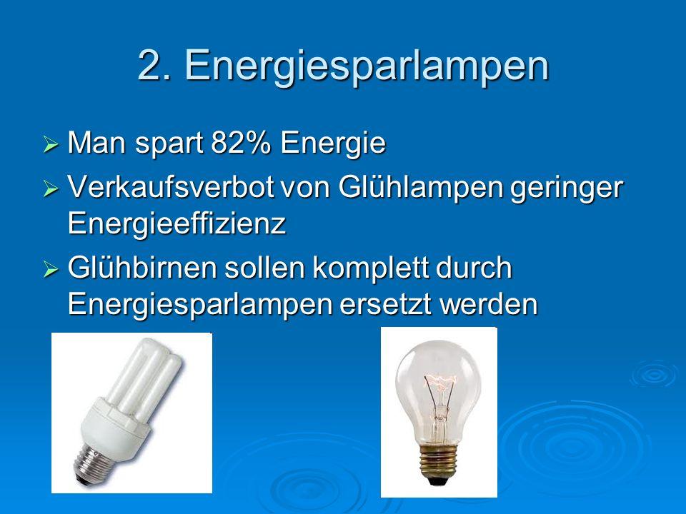 2. Energiesparlampen Man spart 82% Energie