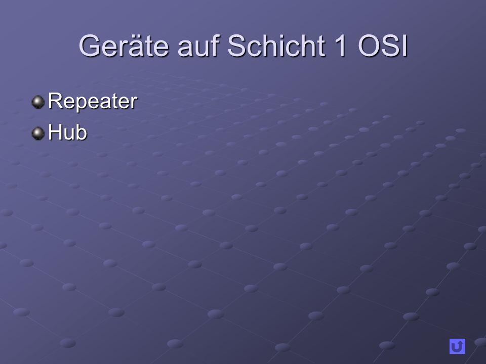 Geräte auf Schicht 1 OSI Repeater Hub