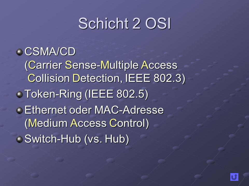 Schicht 2 OSI CSMA/CD (Carrier Sense-Multiple Access Collision Detection, IEEE 802.3) Token-Ring (IEEE 802.5)