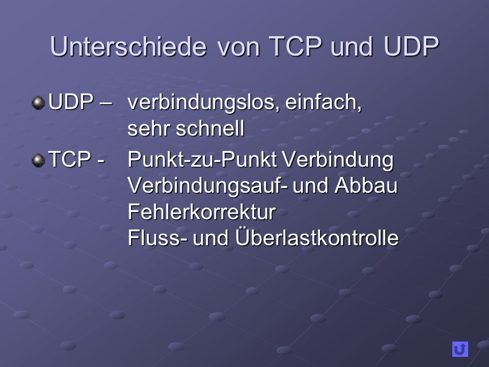 Unterschiede von TCP und UDP