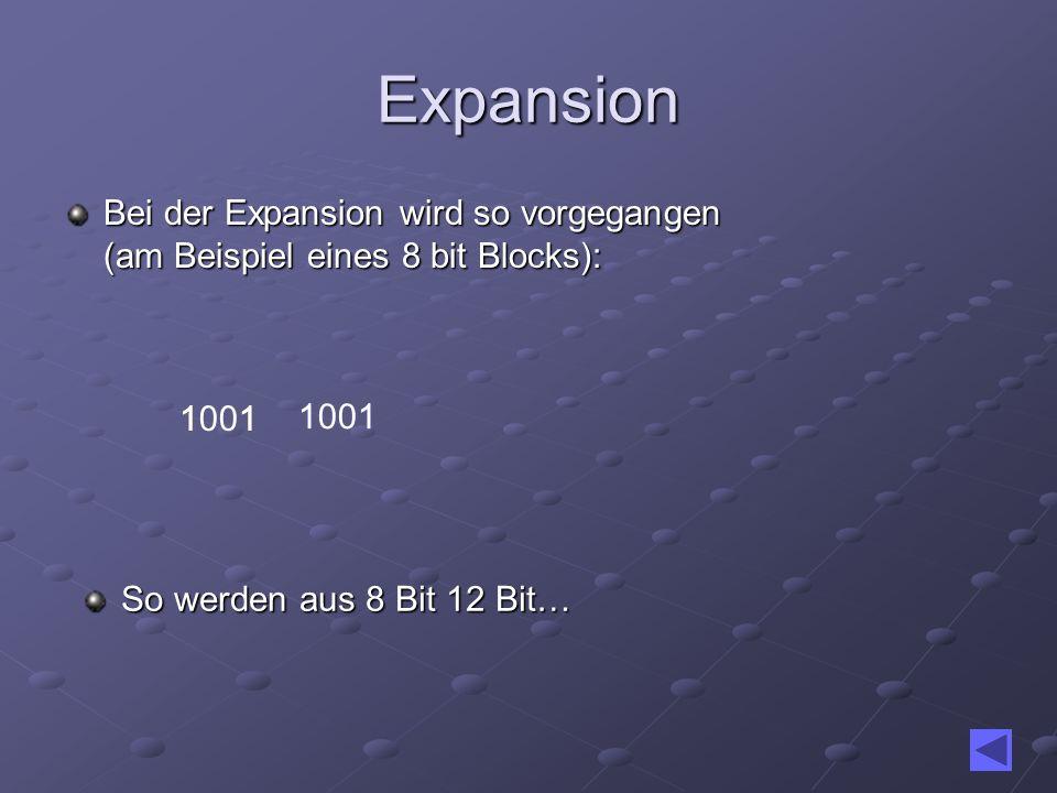Expansion Bei der Expansion wird so vorgegangen (am Beispiel eines 8 bit Blocks): 1001. 1. 1. 1001.