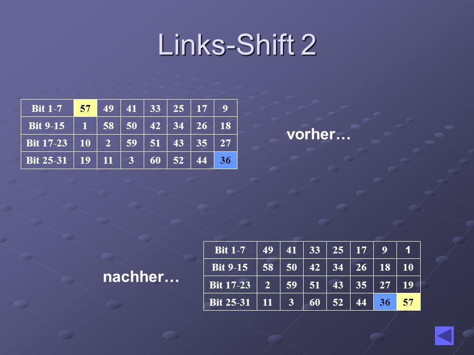 Links-Shift 2 vorher… nachher… 36 44 52 60 3 11 19 Bit 25-31 27 35 43