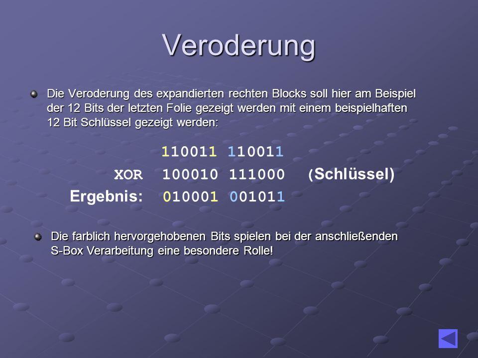 Veroderung 110011 110011 XOR 100010 111000 (Schlüssel)