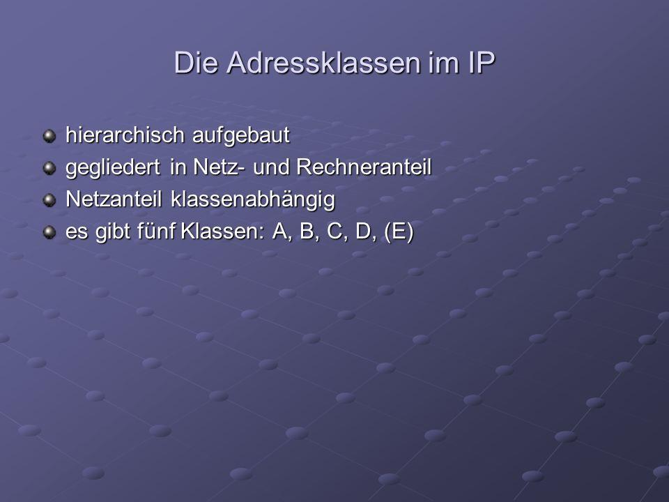 Die Adressklassen im IP