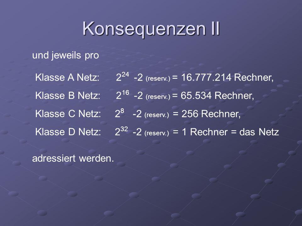 Konsequenzen II und jeweils pro Klasse A Netz: