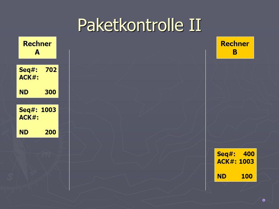 Paketkontrolle II Rechner A Rechner B Seq#: 702 ACK#: ND 300