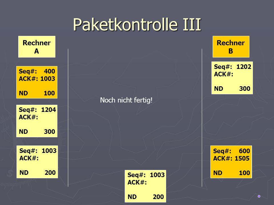 Paketkontrolle III Rechner A Rechner B Noch nicht fertig! Seq#: 1202