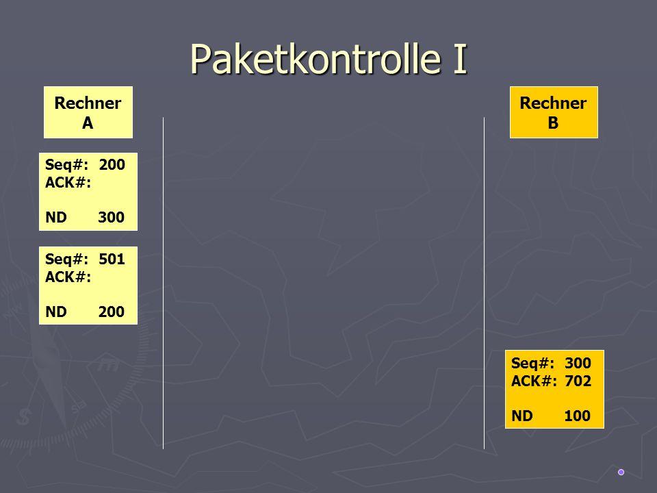 Paketkontrolle I Rechner A Rechner B Seq#: 200 ACK#: ND 300 Seq#: 501
