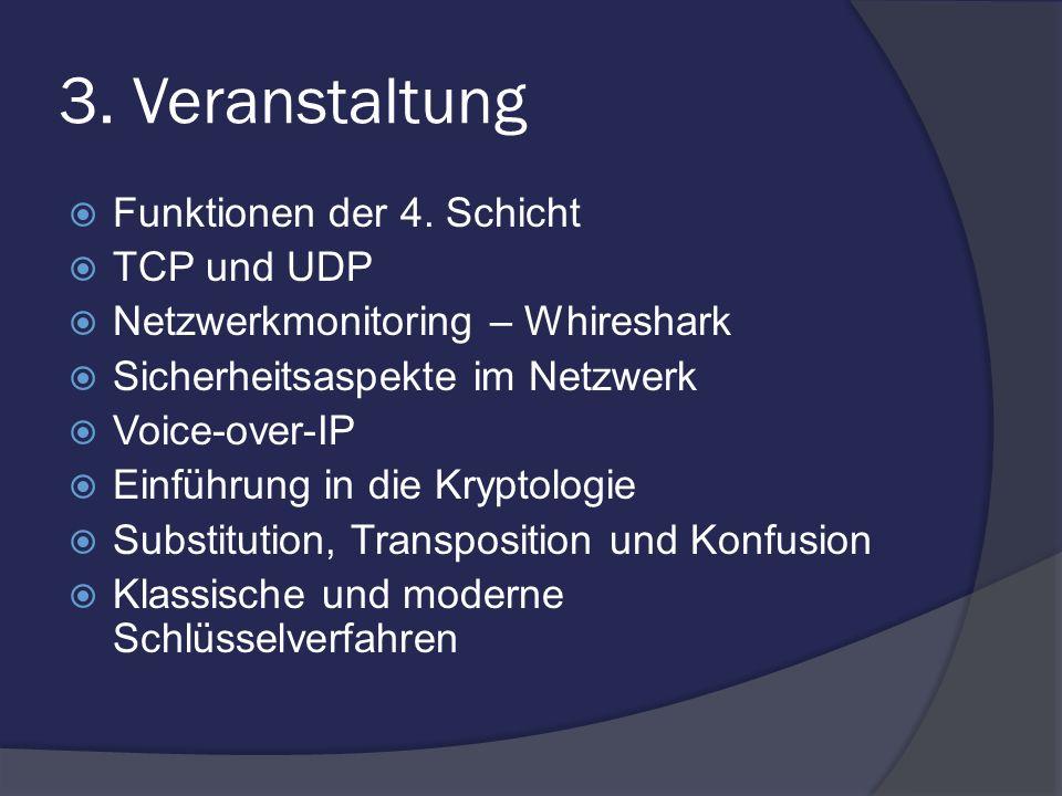 3. Veranstaltung Funktionen der 4. Schicht TCP und UDP