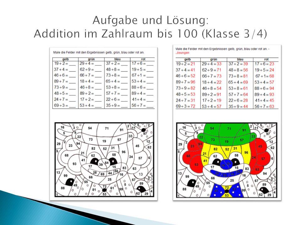 Aufgabe und Lösung: Addition im Zahlraum bis 100 (Klasse 3/4)