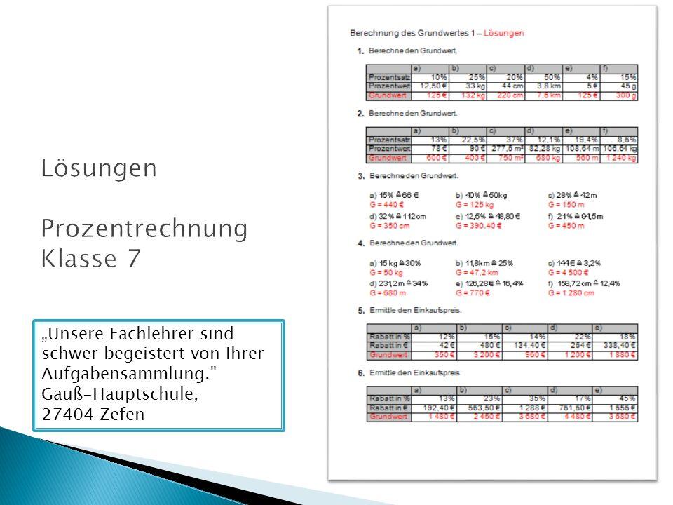 Lösungen Prozentrechnung Klasse 7