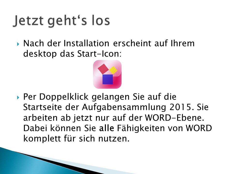 Jetzt geht's los Nach der Installation erscheint auf Ihrem desktop das Start-Icon: