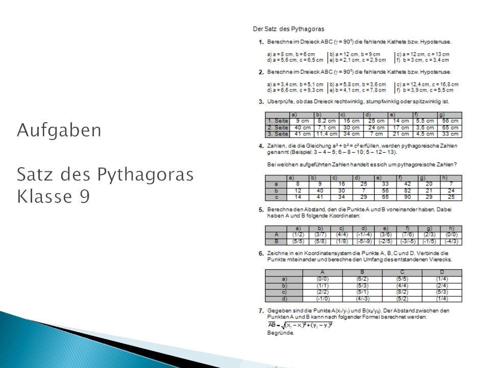 Aufgaben Satz des Pythagoras Klasse 9