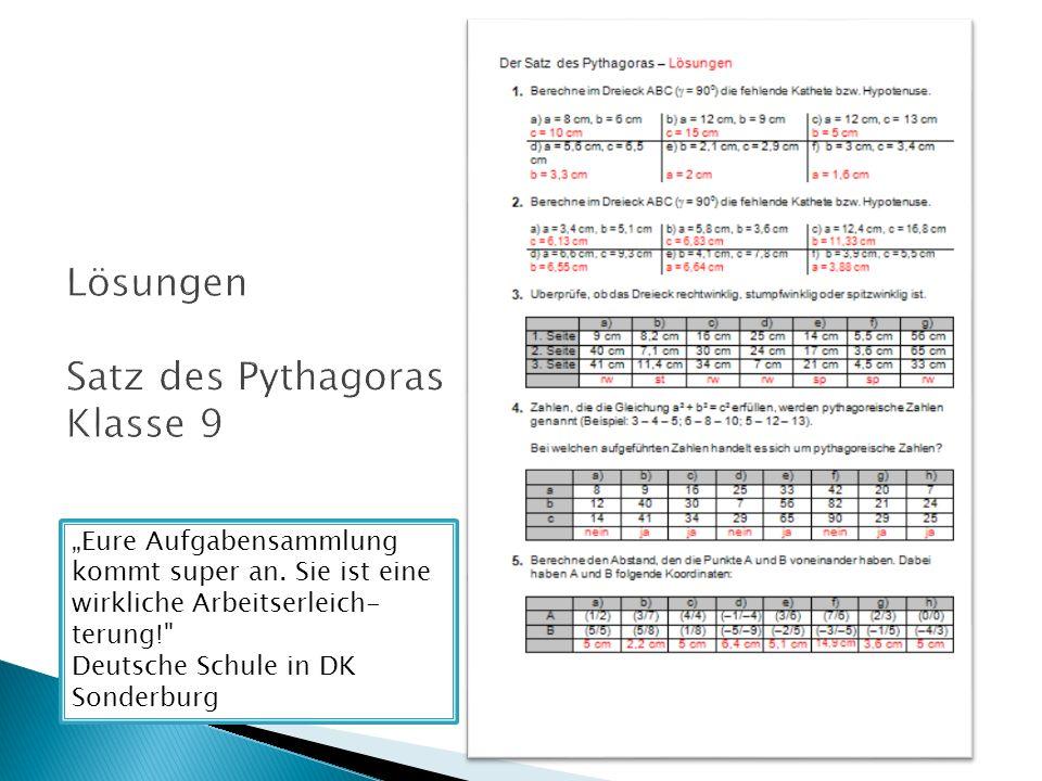 Lösungen Satz des Pythagoras Klasse 9