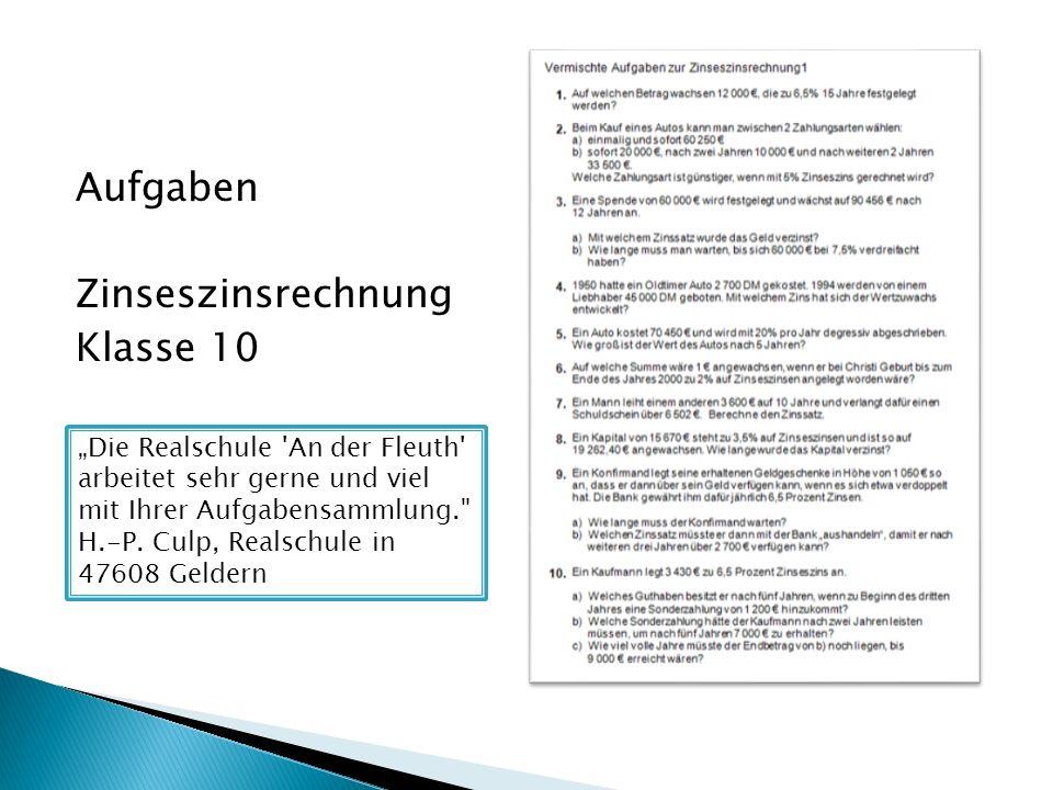 Aufgaben Zinseszinsrechnung Klasse 10