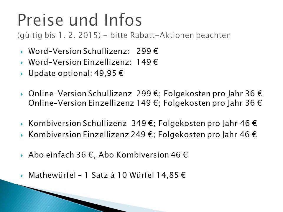 Preise und Infos (gültig bis 1. 2