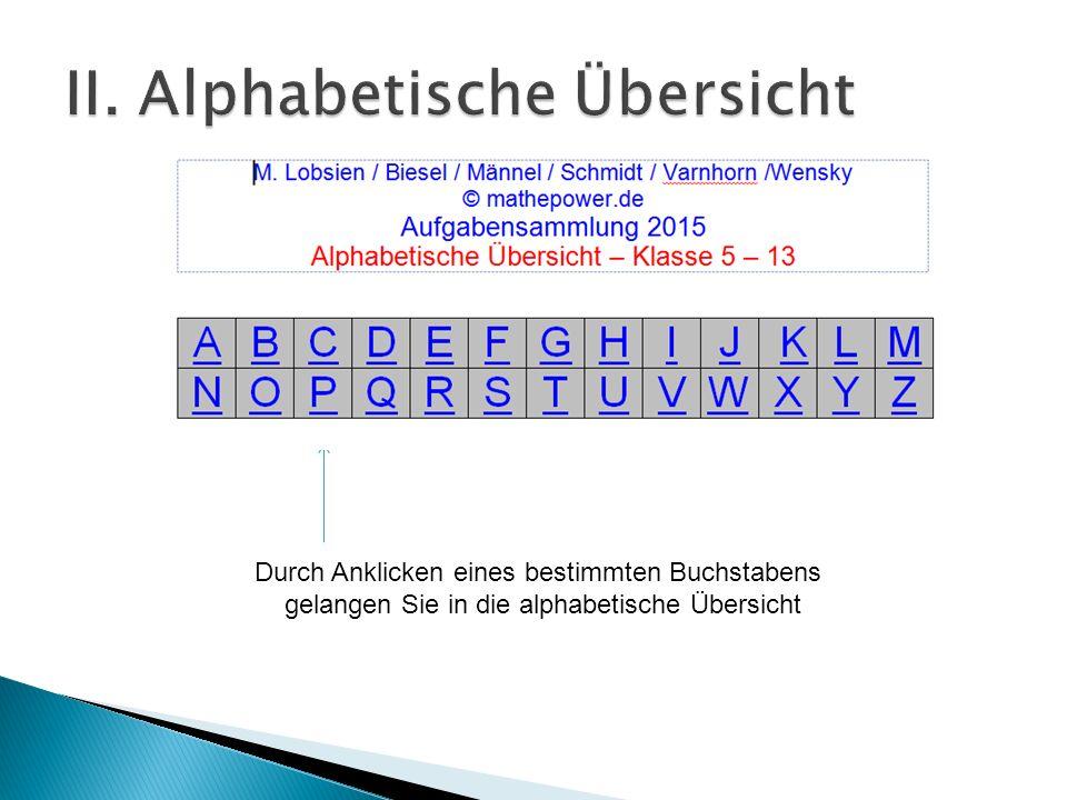 II. Alphabetische Übersicht
