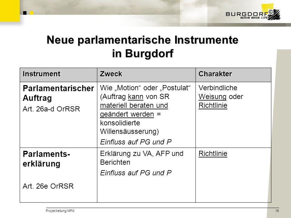 Neue parlamentarische Instrumente