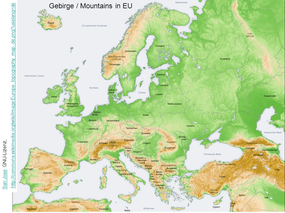 Gebirge / Mountains in EU