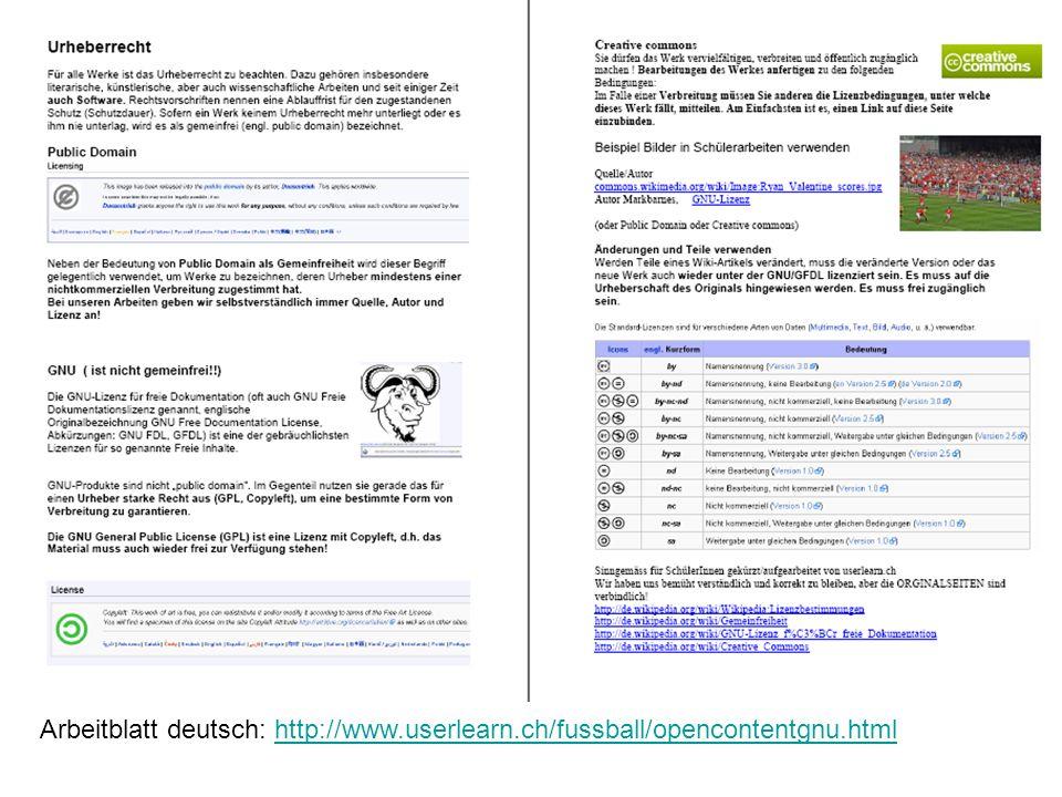 Arbeitblatt deutsch: http://www. userlearn. ch/fussball/opencontentgnu