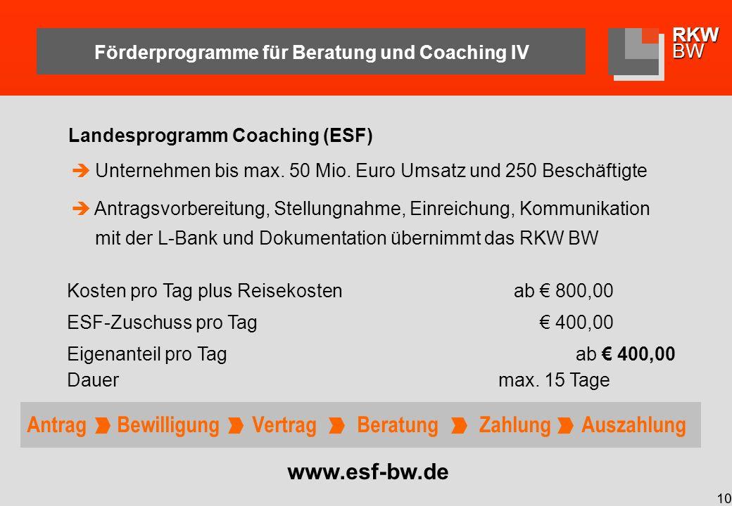 Förderprogramme für Beratung und Coaching IV