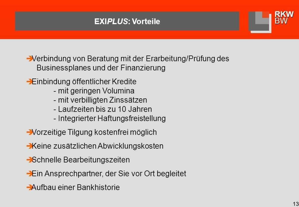 EXIPLUS: Vorteile Verbindung von Beratung mit der Erarbeitung/Prüfung des Businessplanes und der Finanzierung.