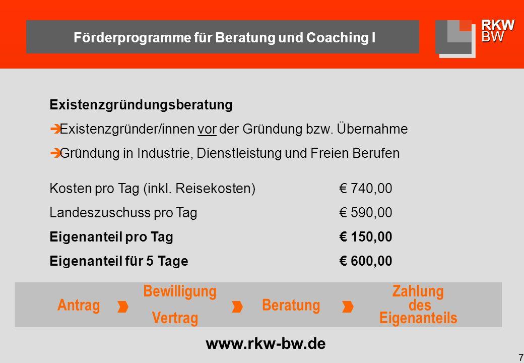Förderprogramme für Beratung und Coaching I
