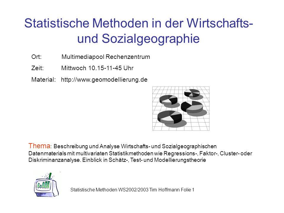 Statistische Methoden in der Wirtschafts- und Sozialgeographie