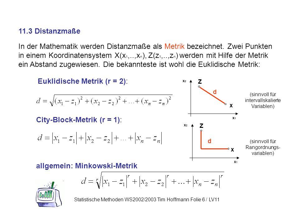 Euklidische Metrik (r = 2):