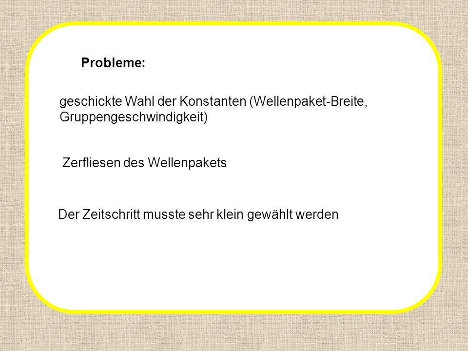 problems Probleme: geschickte Wahl der Konstanten (Wellenpaket-Breite,