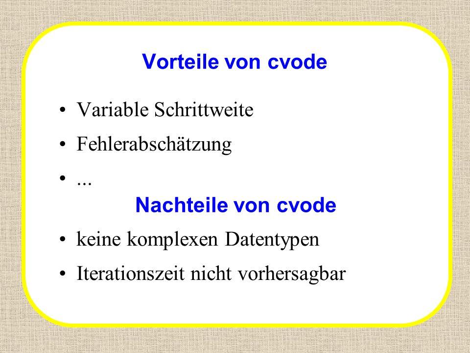 Vorteile von cvode Variable Schrittweite. Fehlerabschätzung. ... Nachteile von cvode. keine komplexen Datentypen.